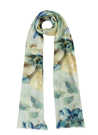 Silk and Cashmere İpek Karışımlı Astera Çiçek Desenli Şal 70*200 cm Mavi